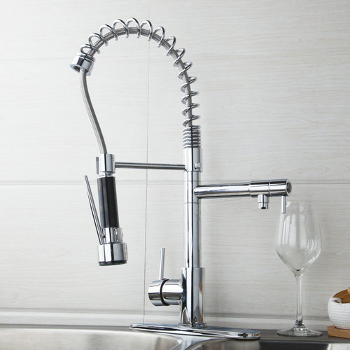 YANKSMART Kitchen Sink Faucet Chrome Pull Down Swivel Spout+Cover Plate+Hose Water Tap Vessel Torneira Cozinha Faucet,Mixer Tap led spout swivel spout kitchen faucet vessel sink mixer tap chrome finish solid brass free shipping hot sale
