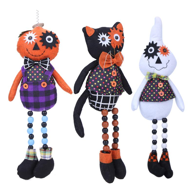 45cm Cartoon Plush Standing Doll Toy Scary Halloween Trick Gag Prank Pumpkin Skull/Black Cat/Ghost Stuffed Doll