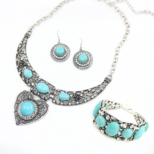 Sale Vintage Turquoise Jewelry Sets Big Choker Necklace Heart Rhinestone font b Bracelets b font font