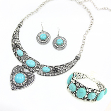 Sale !Vintage Turquoise Jewelry Sets Big Choker Necklace Heart Rhinestone Bracelets Bangles Round Earrings for Women Gift nkek20