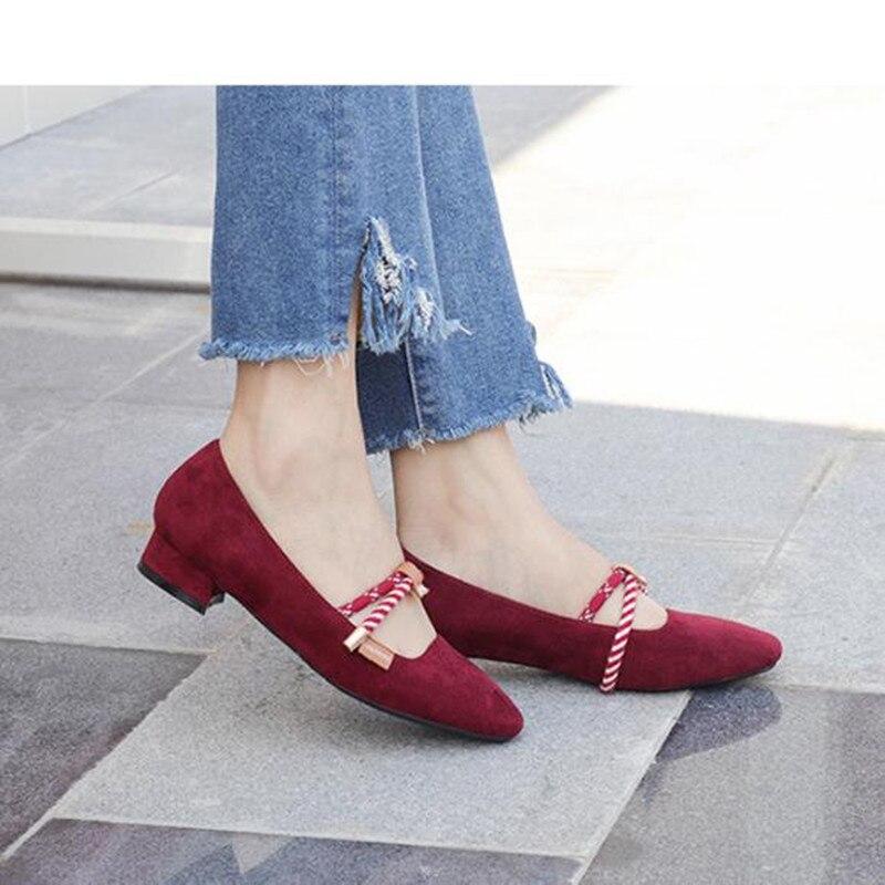 Mujeres Nueva nude Moda Red Cuadrada 2019 wine De Zapatos Primavera Mary Black Tacón Jane Grueso Bajo Con Las Cabeza Obuv Mujer RRqv5Hr