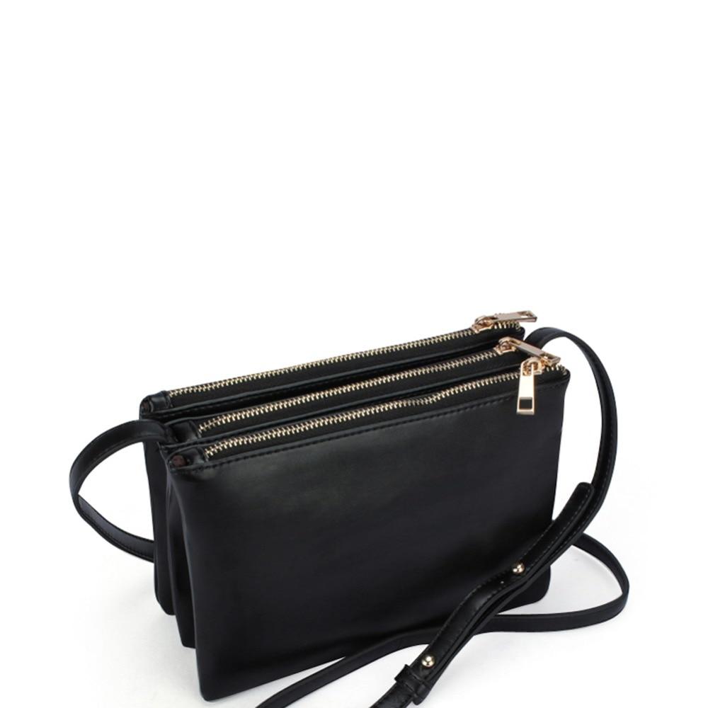 e325bb788d1e TRIPLE ZIPPER CROSSBODY BAG Women s Celebrity PU Faux Leather Vintage  Fashion Shoulder Messenger Sling Bag Purse Handbag-in Crossbody Bags from  Luggage ...