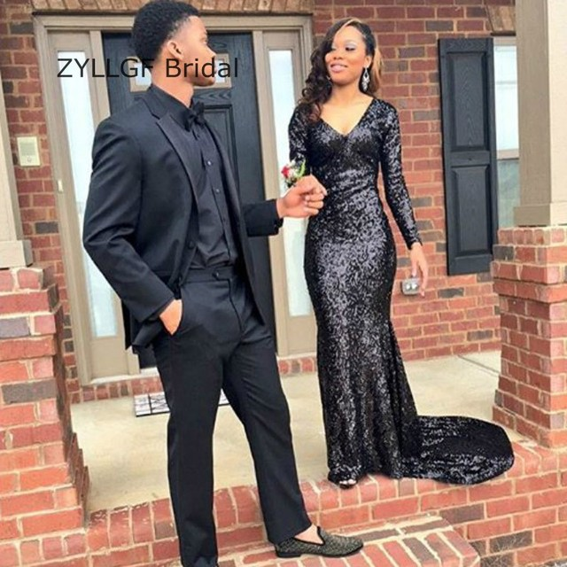 0821a0eef0671 ZYLLGF Bridal Fishtail V Neck Sequin Prom Dress 2017 Long Sleeve Black Prom  Party Dress For Women Custom Made SA123