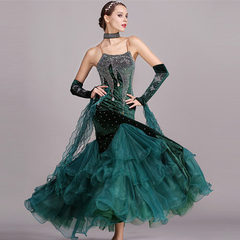 5 colors blue rhinestones ballroom dancing dress standard dresses modern dance costume luminous costumes ballroom dress waltz