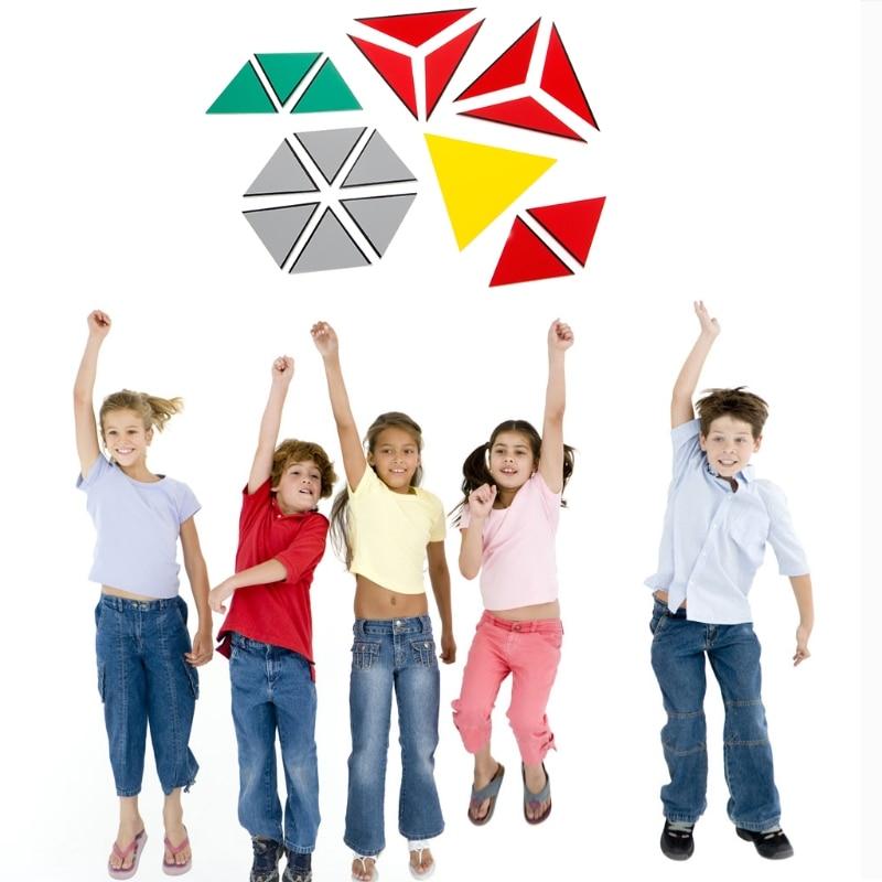 Montessori matériau en bois jouet Triangles constructifs pentagone rectangulaire - 2