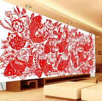 Chinese Paper Cutting Art Lotus Flower Fish Needlework Handmade DIY Precise Printed Full Cross Stitch Embroidery