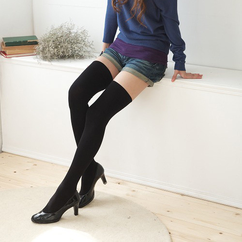 2019 Real Limited Black With Thick Cotton Stockings Hosiery For Seven Students Lolita Maid Socks Pure Color Thigh