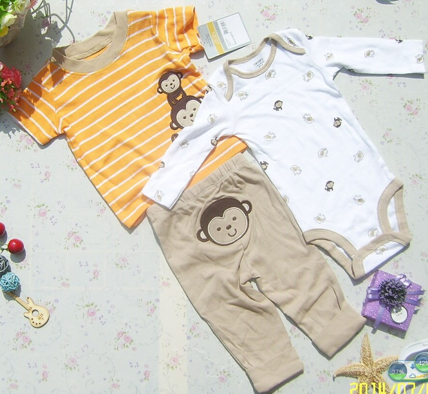 Boys and girls baby suits, baby summer suits, children's suits three-piece high-grade, two pieces of clothing, a pair of pants. шампунь other queen sland 500ml
