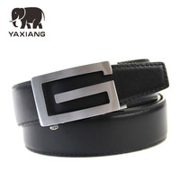 YAXIANG Famous Brand Belt Men G Copper Automatic Buckle Top Quality Genuine Luxury Leather Belts