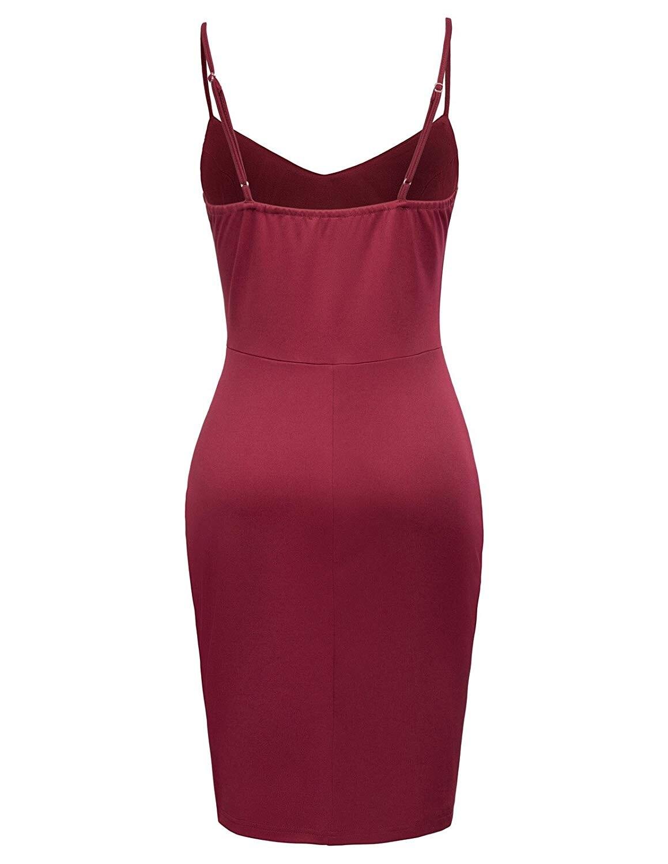 Women Sexy Adjustable Spaghetti Straps Front Slit Bodycon Dress
