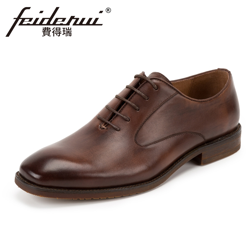 Luxury Genuine Leather Men's Handmade Oxfords Vintage Round Toe Lace-up Man Wedding Flats Formal Dress Office Shoes KUD120 good quality men genuine leather shoes lace up men s oxfords flats wedding black brown formal shoes