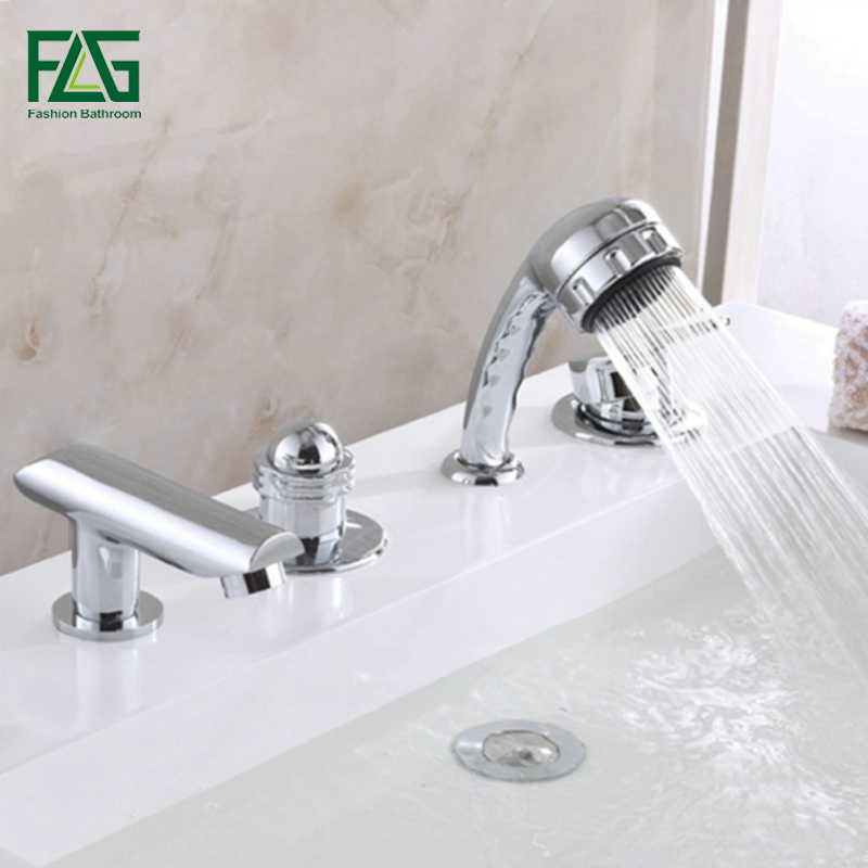 FLG Eurostyle Cosmopolitan Bath Faucet With Hand Shower Set Bathroom Brass Hand Shower Chrome Cast Bath Shower Faucet Set sognare brass body bathroom shower faucet single handle cold and hot bath shower faucet set with hand shower chrome finish d5126