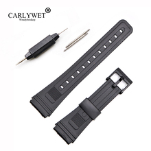 купить CARLYWET 20mm Men Lady Black Replacement Silicone Rubber Straight End watch band Strap Loop With Black Plastic Pin Buckle по цене 155.66 рублей