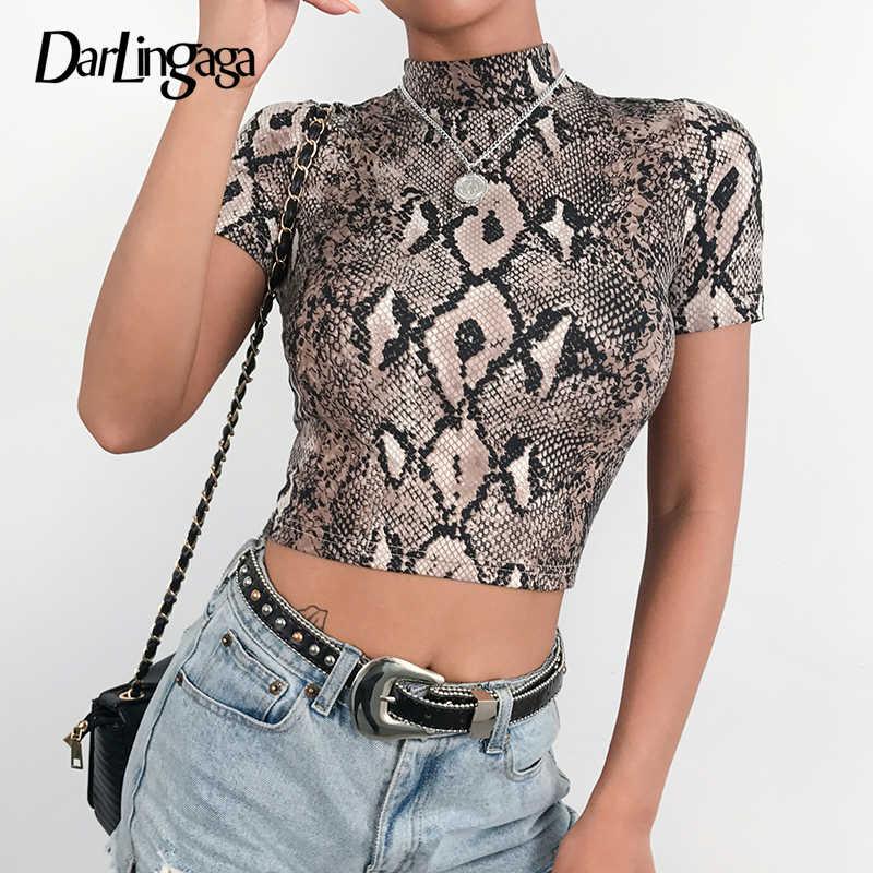 f35a51ce2ef Darlingaga Fashion turtleneck snake print female t-shirt animal print crop  top tee short sleeve