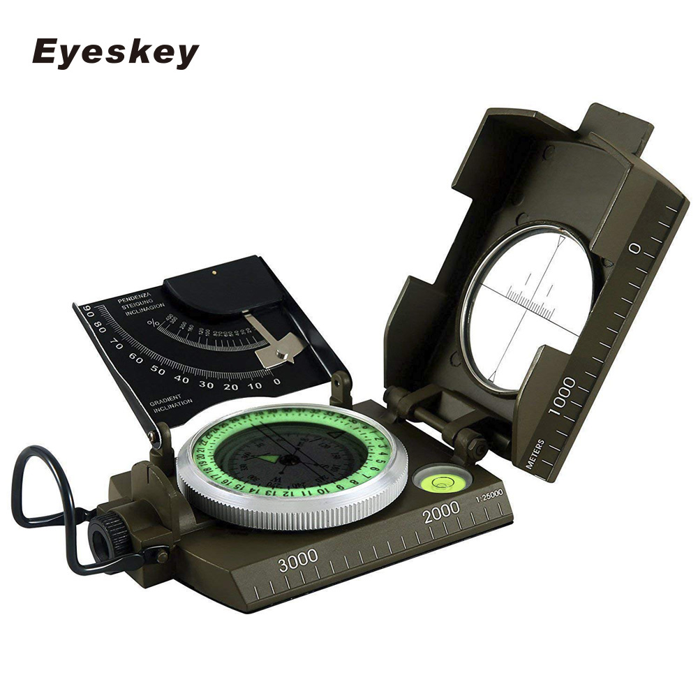 Mulitifunctional Eyeskey Survival Military Compass Camping Hiking Compass Geological Compass Digital Compass Camping Equipment 7356 15 led compass bivouac camping lantern light lamp travel outdoor exercise equipment with compass