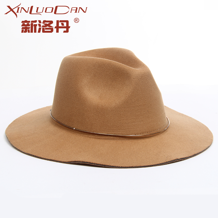 New Winter Fashion Vintage Wide Brim Fedoras Hats With Ring For Women Bowler Floppy Feminino Sun