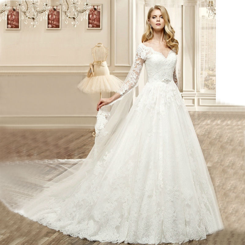 Backless Wedding Gowns For Sale: Hot Sale High Quality Lace Appliques V Neck Long Sleeve
