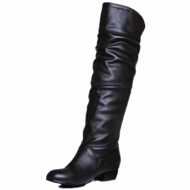 MORAZORA büyük boy 2019 yeni gelmesi diz yüksek kadın botları siyah beyaz kahverengi düz topuklu yarım çizmeler ilkbahar sonbahar ayakkabılar kadın