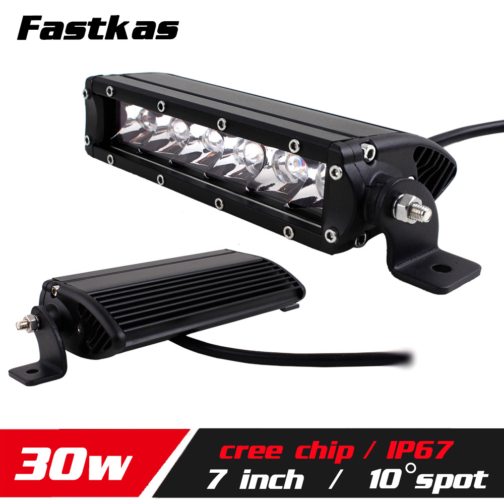 FASTKAS 7inch 30w LED Work Light Bar SUV Truck Tractor ATV 12V 24V 4X4 LED Offroad