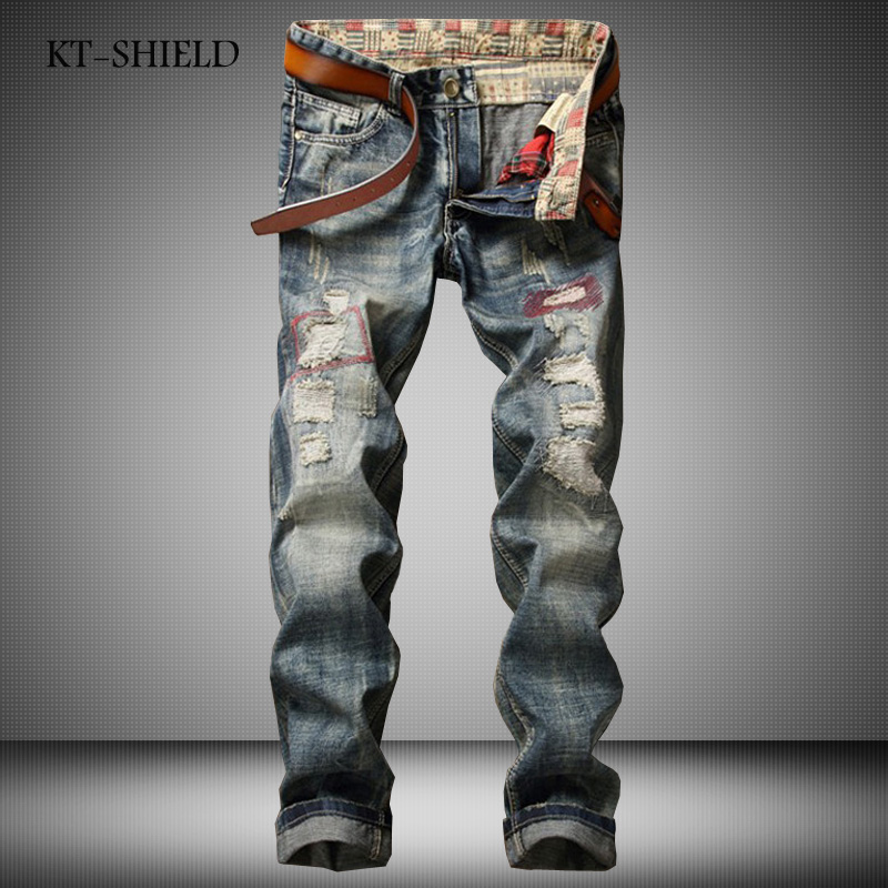 Fashion mens casual pants trousers Famous Brand Solid skinny denim Ripped jeans Vaqueros Hombre Distressed Plus Size 29-38 new fashion jeans pants for men casual famous brand full length trousers mens ripped biker straight mens denim vaqueros hombre