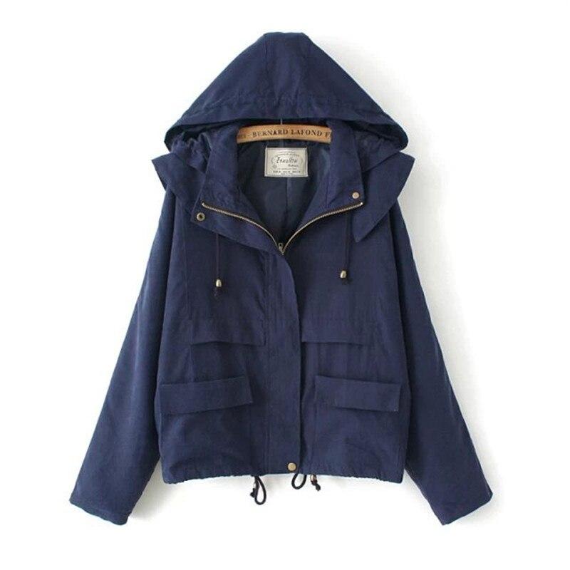 2018 New Autumn Winter Women Jacket bat-sleeve Loose Casual Windbreaker Hooded Women Parka Coat Navy Blue Army Green JK307