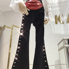 Новинка года; Узкие расклешенные Стрейчевые обтягивающие джинсы с высокой талией; обтягивающие джинсы; одежда с высокой талией