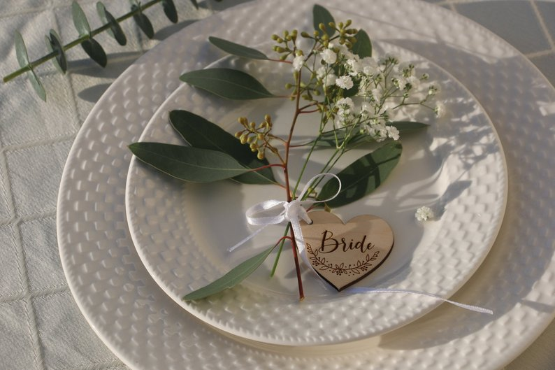 Us 5 6 20 Off Wooden Place Cards Wedding Table Decor Laser Cut Names Heart Tags For Custom Name Wood W In