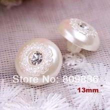 30 шт./лот, жемчужные пуговицы из смолы с кристаллами, 13 мм, объемные кнопки для рубашки, скрапбукинг(aa-31-11