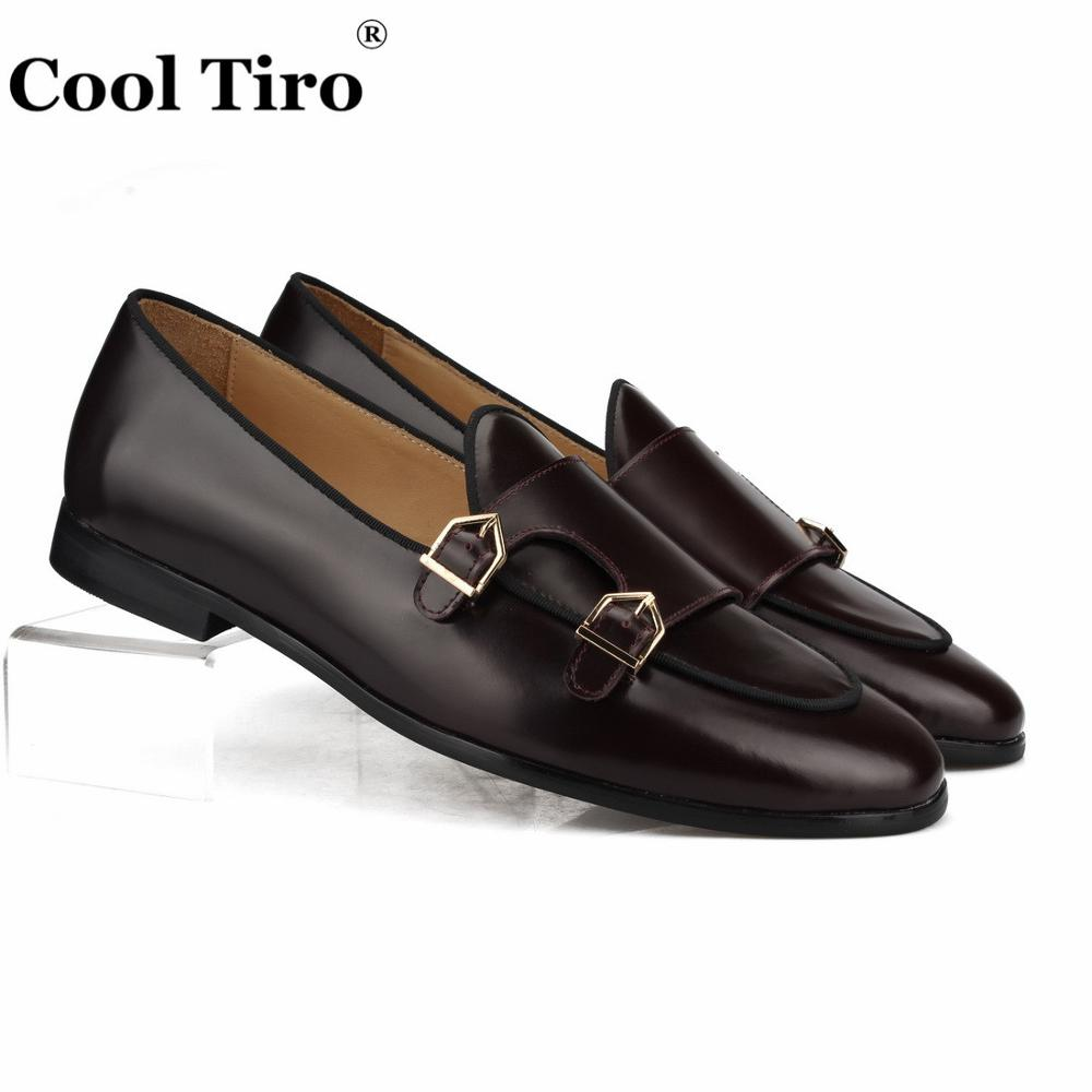 Cool Tiro Polished Leather Double Monk Loafers Men Moccasins Slippers Wedding Dress Shoes Flats Casual Shoes