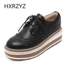 Brand HXRZYZ spring/autumn fashion Flat Platform Women leather Shoes black white Casual Brogue Shoes Round Toe Lace-Up flats