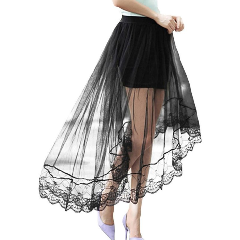 Women Girls Summer High Waist Layered Sheer Mesh Swallowtail Midi Long Skirt Asymmetric Scalloped Lace Hem Pleated Party