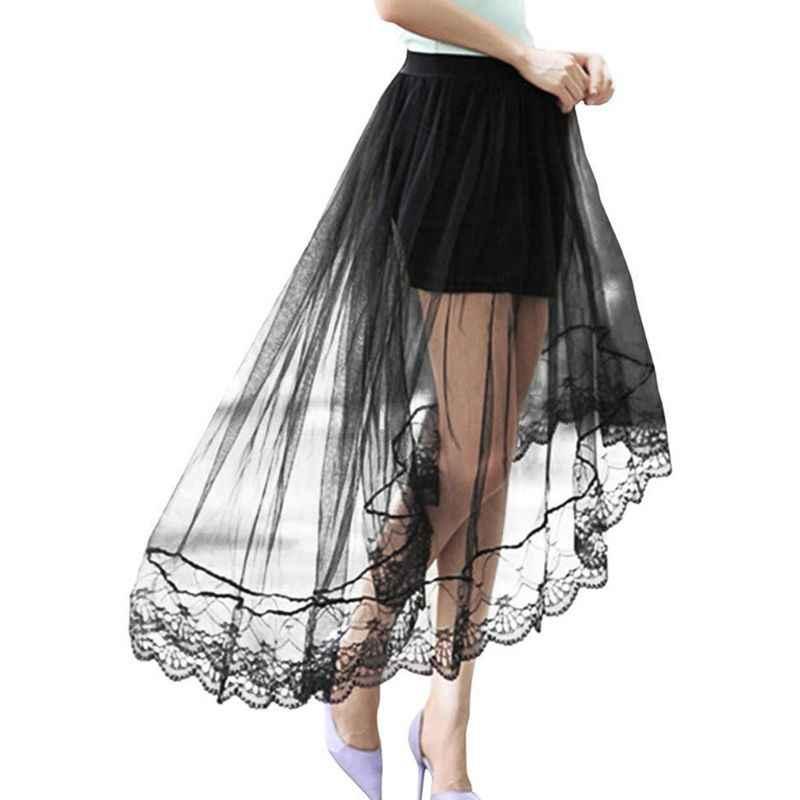 Kobiety dziewczęta lato wysokiej talii warstwowa przezroczysta siateczka Swallowtail Midi długa spódnica asymetryczna koronka muszelkowa Hem plisowana strona