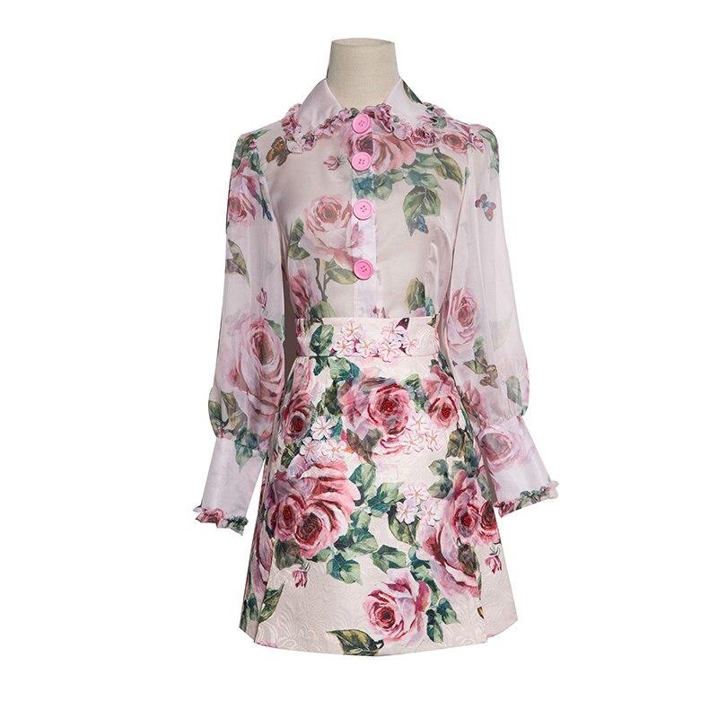 Jupe Poitrine 2018 Haut Lanterne Dames Rose Mini sets Top Unique Manches À Twin D'été Ol Imprimer Mince Costumes Pleine Chaud Femmes pxdx8aq1
