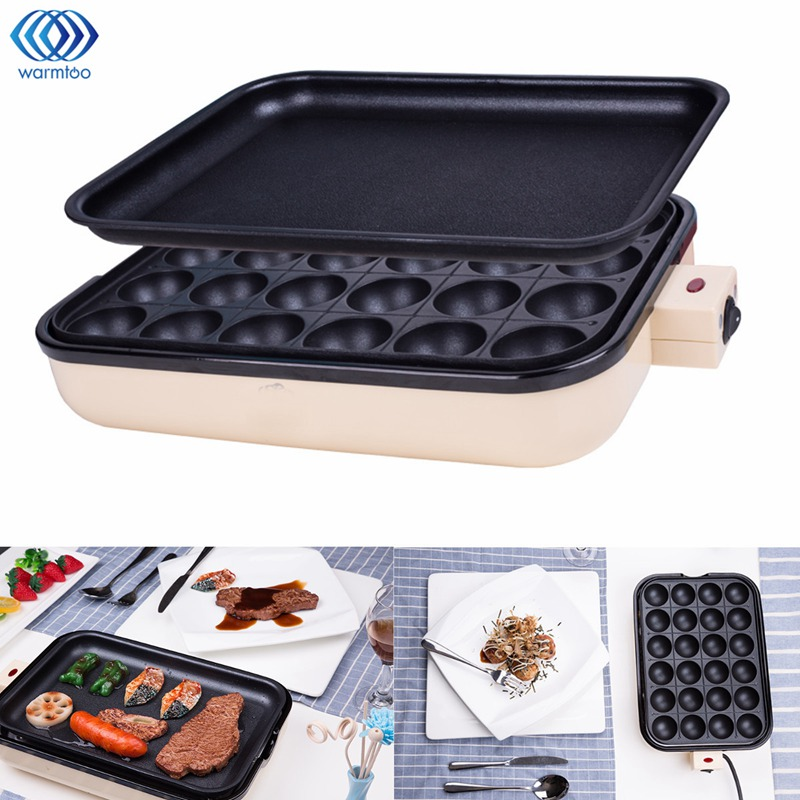 24 Holes Takoyaki Grill Pan Plate Cooking Octopus Balls Maker Meat Roast Baking Tools Mold Kitchen Cooking Tools Cookware 2 In 1 84 balls fried octopus dumplings grill machine japanese yakitori takoyaki gas griddle cooking octopus ball