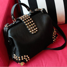 New 2016 women casual leather handbags famous brands female rivet shoulder bag crossbody women messenger bags shopping tote bag