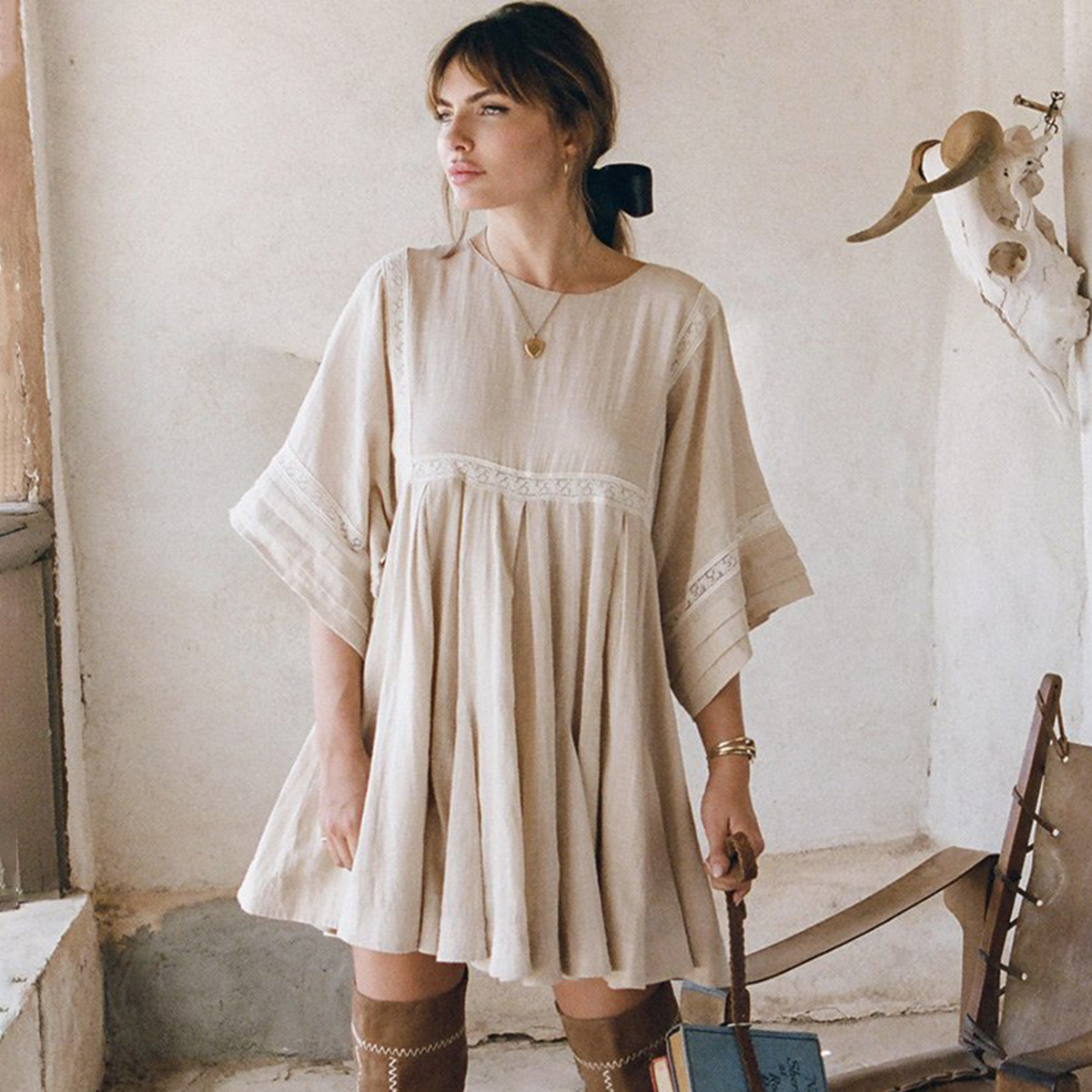 Retro Paloma Mini Dress Women 208 Summer Autumn 3/4 Sleeve O neck Lace Trim Short Dress Ladies Casual Loose Boho Hippie Dresses