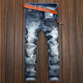 2016 Designer jeans men high quality jeans male famous brand dark jeans ripped jeans for boys  italian motorcycle biker