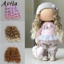 AAAA High Quality 15 cm high temperature heat resistant doll hair for 1/3 1/4 1/6 BJD diy curly doll wigs(China)
