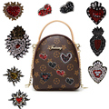2Pcs Rhinestone Beaded Heart Shaped Patch for Clothing Sewing on Beading Applique Shirt Shoes Bags DIY Decoration Patches