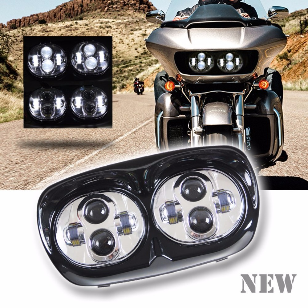 Motorcycle Projector Daymaker Dual LED Headlight for 2004~2013 Harley-Davidson Road Glide (Chrome/Black) harley davidson headlight price
