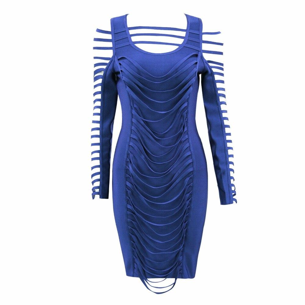 Sexy Mode hlen Abendkleid aush Elegantes Langarm 2018 Frauen Promi Blau Verband c54ARq3Lj