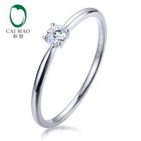 CaiMao 14kt золота зубец набор 0.11ct природного бриллиантовой огранки Обручение кольцо для женщин