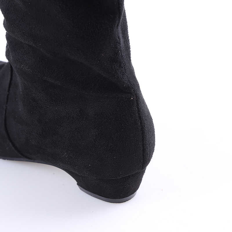 Kadın Yüksek Çizmeler Ayakkabı Moda Kadınlar Diz Çizmeler Üzerinde 2017 Yeni Sonbahar Kış Akın Botas Feminina Uyluk Yüksek çizmeler Bayanlar