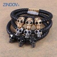 Stainless Steel Genuine Leather Black PVD Gold Plated Bracelets Bangles Skull Men Magnet Clasp Brand Designer