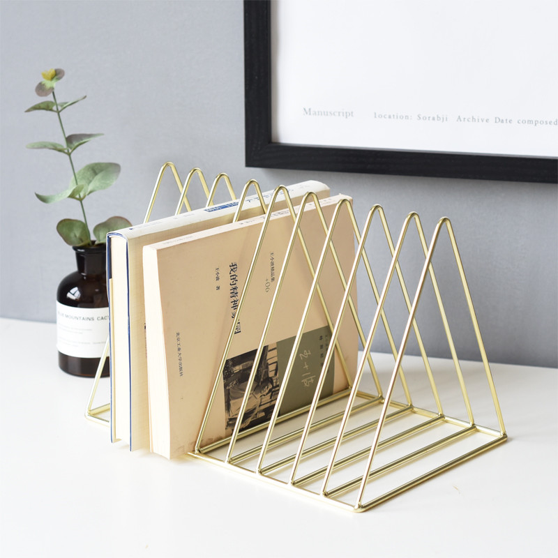 Rose Gold Luxury Bookshelf Metal Geometry Newspapers And Magazines Storage Rack Gold Home Decor Shelf Book Storage