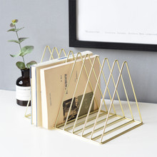 Rose Gold Luxury Bookshelf Metal Geometry Newspapers and Magazines Storage Rack Home Decor Shelf Book