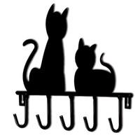 Çelik siyah kedi anahtarlık anahtar tutucu duvar anahtar duvar