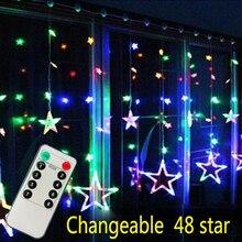 LAIMAIK AC110V or 220V Holiday Lighting LED Fairy Star Curtain String luminarias Garland Decoration Christmas Wedding Light