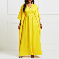 Dashiki African Dresses for Women 2019 New Yellow Bat Sleeve Gowns long dresses Bazin Riche Dresses African Style Clothing