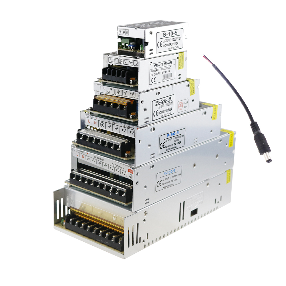 DC5V Power Adapter Supply Transformer Full Current AC100-240V 2A 3A 5A 10A 20A 30A 40A 60A for 5V LED Strip WS2812B JL 201w led switching power supply 85 265ac input 40a 16 5a 8 3a 4 2a for led strip light power suply 5v 12v output